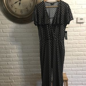 Bebe black and white polka dot jumpsuit